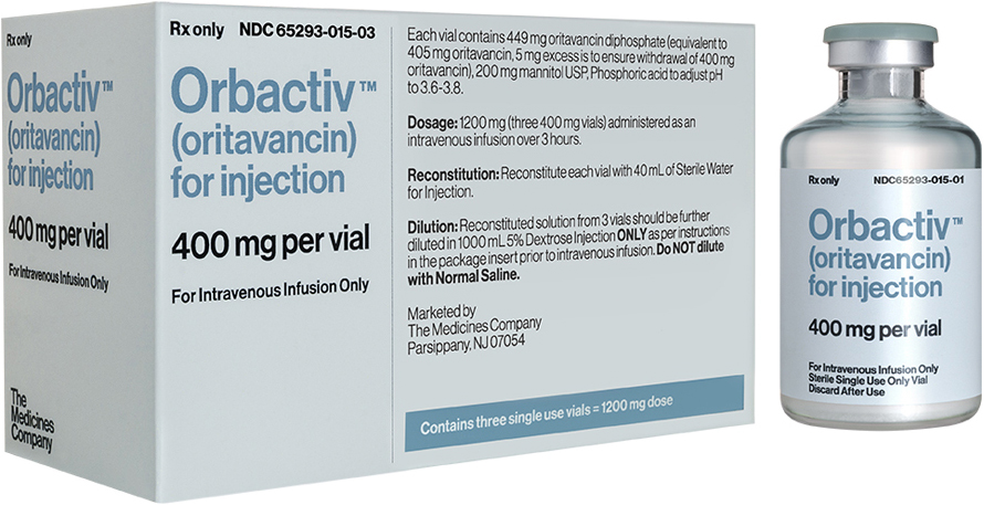 The Medicines Company, Orbactiv® packaging and vial